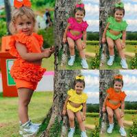 Newborn Kids Baby Boys Girl Sleeveless Solid Ruffle T-shirt Shorts Outfit Set
