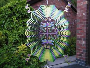 "RRP £23.99 - Iron Stop 10""/25cm 3D DRAGONFLY Wind Spinner Twister Hook Garden"