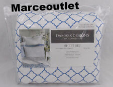 Charter Club Damask Designs 500 Thread Count QUEEN Sheet Set Geo Denim Blue