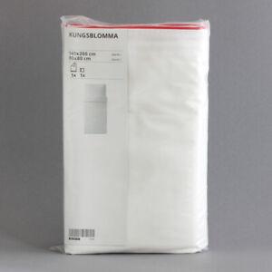IKEA KUNGSBLOMMA Bettwäsche Bettgarnitur Set Lyocell weiß rot 140x200 cm | NEU