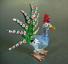 Glass PEACOCK Colourful Bird Decorative Figure Glass Animal Glass Ornament Gift