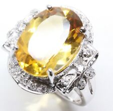 6.2 ct tw Natural Yellow Citrine & Diamond Solid 14k White Gold Cocktail Ring