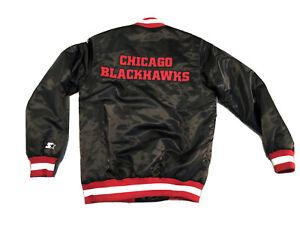 New Chicago Blackhawks Starter Satin Jacket Men's Small Double Sided Logos