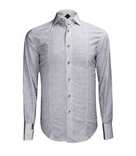 Billionaire Couture Men's Light Grey Patterned Cotton Dress Shirt Paris