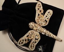 Signed Swan Swarovski Gold Plated Dragonfly Clear Crystals Brooch Pin
