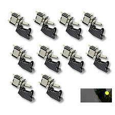 10Pcs 12V Carbon Fiber Cover Car Green LED Light SPST Toggle Switch Control SL