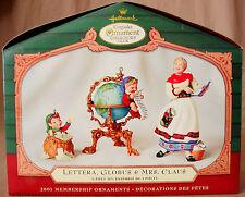 Hallmark Lettera,Globus & Mrs. Claus 2001 Collector's Club Ornament 3pc Set New