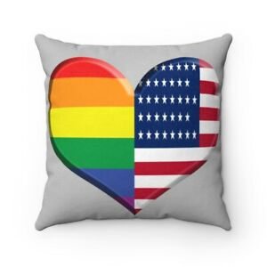 Faux Suede Square Pillow Rainbow American Flag Heart