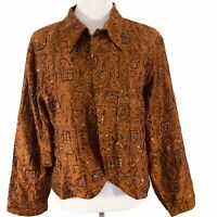 CHICOS 3 Brown Silk Embellished Embroidered Beaded Boho Jacket Womens XL
