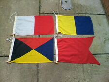More details for four old vintage signal flags stitched linen / cotton all stamped 18 x 12 inches