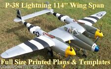 "P-38 Lightning 114"" WS 1/5 Scale RC Airplane Full Size PRINTED Plans & Templates"