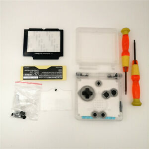 FIT IPS screen Clear White Shell Housing Case For  Game Boy Advance SP  GBA SP