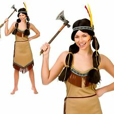 Ladies Red Indian Fancy Dress Costume Western Native Squaw Pocahontas UK 6-24
