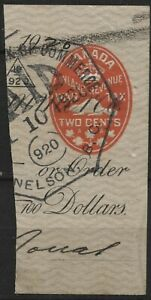 Canada VanDam # FCH1 2c red embossed check stamp (cut corner) (1915)