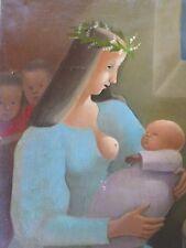 Madeleine LUKA-KULA-1894-1989-Tableau TABLEAU -huile/toile-Maternité-Enfant-oil
