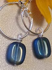 Iridescent Blue & Silver Lever Back Hoop Dangle Earrings. Casual Jeans Or Fancy