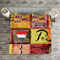 Colorful Quilted Bedspread & Pillow Shams Set, French Paris Collage Print