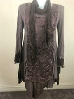 NWT PRETTY ANGEL 3 PC LINEN LAYERED VINTAGE BOHO CHIC KNIT TUNIC TOP DRES COFFEE