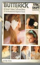 Butterick 5754 Collars Cuffs Bows 1987 Vintage Hair Bows Uncut Craft 1980's