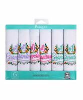 """#1 Grandma"" Cotton Embroidered Handkerchiefs 6pcs (LGE6006)"