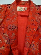 Vintage RETRO DRESSING GOWN Chinese red embossed/embroidered satin S-M PeonyMake