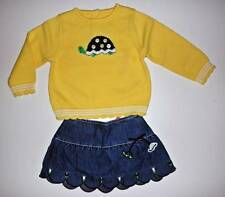 NWT Gymboree Prep Club Yellow Turtle Sweater Denim Skirt 2pc Set 18/24m Twins