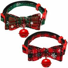 2 Pack Cat Collar Breakaway with Cute Bow Tie and Bell, Christmas Cat Plaid Coll