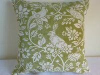 """16"""" cushion cover Cottage Farmhouse Country Fryetts rabbits birds sage green"""