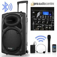 Battery Powered 800W Portable PA System Wireless Handheld Headset Mics Bluetooth