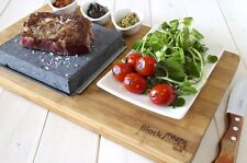 Hot Stone Tabletop Cooking Steak on the Stone Black Rock Grill Set Lava Rock