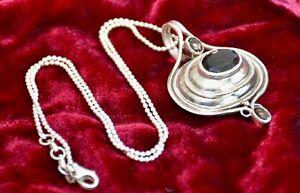 "Ladies Boho Style 925 Sterling Solid Silver Smoky Quartz Pendant &18"" Chain"