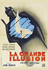 La grande Illusion Film Vintage Noir france  Art Deco Poster Movie