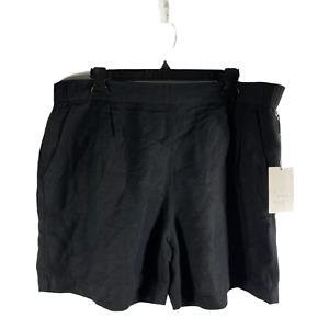 A NEW DAY Women Shorts Sz 2XL Mid Rise Black Elastic Waist Pleated FrontNEW #288