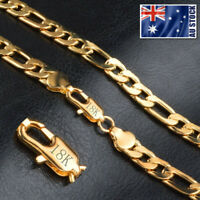 "18K Yellow Gold Plated 8MM Classic Solid Curb Figaro Chain Necklace 20"" Unisex"