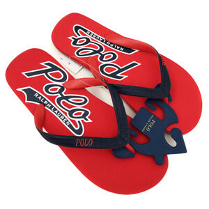 New RALPH LAUREN Red Flip Flops Sandals Slides Shoes Mens UK 10 (EU 44)