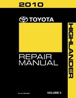 2010 Toyota Highlander Shop Service Repair Manual Book Volume 5 Only