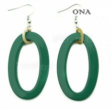 & Lacquer Earrings Q9792 Large Forest Ona Handmade Lagenlook Water Buffalo Horn
