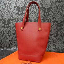 Rise-on Vintage HERMES Sorbonne Ardennes Leather Red Shoulder Bag Tote Bag #37