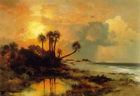 Perfect oil painting Thomas Moran - Fort George Island seascape with trees waves