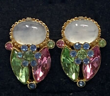 MY VINTAGE MOM'S  FRUIT SALAD RHINESTONE Green PINK BluE Clip On EARRINGS