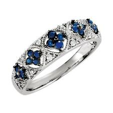 Sterling Silver Blue Sapphire and Diamond Granulated Ring Size 7