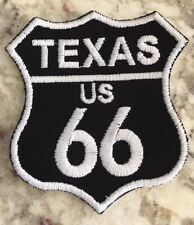 "TEXAS ROUTE 66 EMBROIDERED PATCH -IRON-ON APPLIQUE White On Black 3"" x 2 1/2"