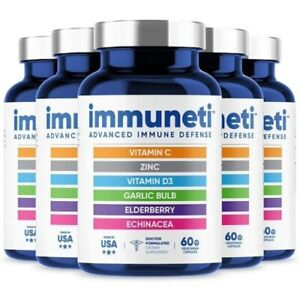 Immuneti Advanced Immune Defense 6 in 1 Powerful Vitamin Blend Zinc -Pack of 5