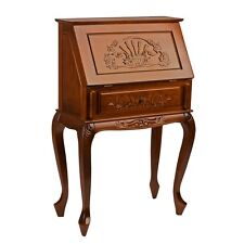International Caravan Small Carved Secretary Desk with Fold Out Front, Brown
