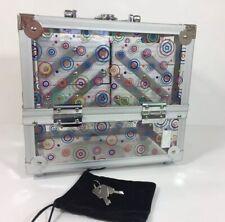 Caboodles Neat Freak Train Case Clear Acrylic 6 Trays With Keys