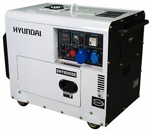 HYUNDAI Silent Diesel Stromerzeuger DHY6000SE D, Not-Stromaggregat, Generator