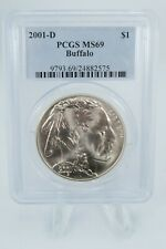 2001-D PCGS MS69 Buffalo Modern Commemorative Silver Dollar Business Strike $1