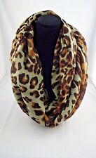 Animal print infinity scarf cheetah leopard print brown beige