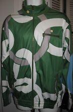 Mens SEAN JOHN track jacket green white grey blue block pattern zip front EUC