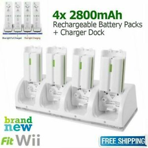 4Pack Rechargeable Battery+Controller Charger Dock Station For WII Controller UK